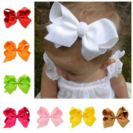 Wholesale Diy Ribbon Bow Hair Clip - Baby Hair Clips DIY 6'' Ribbon Bows with Alligator Clips Boutique Hair Accessorise Grosgrain Ribbon Solid Color Bow Hairpins for Girls