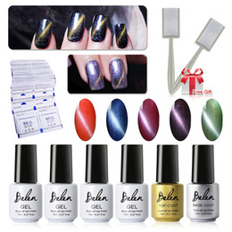 Wholesale Magnet Gel Polish - Wholesale- Belen UV LED Cat Eye Gel Polish 5pcs Soak Off Magnetic Gel Polish and Top Base Coat 50 Remover Wrap Free Magnet Stick Magnet Gel