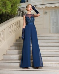 Wholesale High Waist Chiffon Pink Pants - Dark Blue Mother of the Bride Pant Suits Hot Sheer Chiffon Mothers Gowns High Waist For Fall