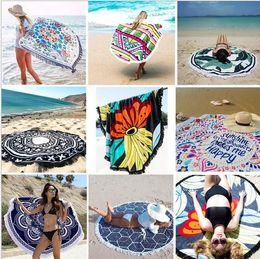 Gran estampado floral de tela online-Borla toalla de playa redonda grande estilo bohemio tela de seda artificial nueva moda de verano señoras borla toalla de playa toalla de playa toalla de impresión s