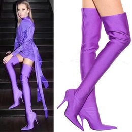Wholesale Thigh High Boots Dress - Candy Color Silk Material Pointed Toe Over Knee High Boots Thin High Heels Sexy Shoes Dress Party Women Boots Stiletto Ladies Shoes