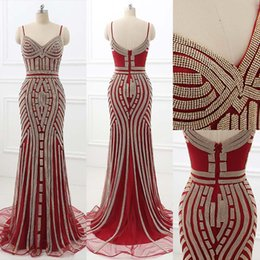 Wholesale Sweetheart Homecoming Dress Beads Pleats - Sparkly Luxury Crystal Mermaid Spaghetti Prom Occasion Formal Dresses 2017 Real Image Backless Burgundy Champagne Evening Wear Gowns