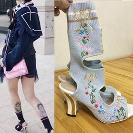 Wholesale Denim Shorts Boots - Fashion Embroidery Slingback Ankle Boots For Women Strench Fabric Sock Boots Short Botas Mujer Peep Toe Ladies Extreme High Heels Pumps