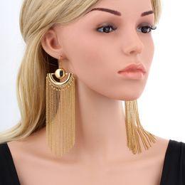 Wholesale Jewelry Earrings Large - Gold Color Chain Tassel Drop Dangle Long Earrings For Women Big Large Brinco grande Statement Bohemian Party Jewelry