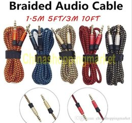 Wholesale Car Stereo Connectors - Top Quality 1.5m 5ft 3M 10FT 3.5MM Universal Braid Aux Cable Unbroken Metal Connector Car Audio Extension Cable For Mobile phones Tablet PC