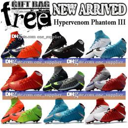 Wholesale High Heels Patent Lace - New Mens Football Boots Hypervenom Phantom III 3 DF FG Soccer Shoes High Tops JR Hypervenom ACC Boots Neymar Phantom FG Soccer Cleats