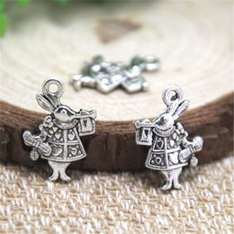 Wholesale Rabbit Charms - 20pcs- Rabbit Charms , Antique Tibetan silver Alice In Wonderland White Rabbit Charms pendants 13x20mm