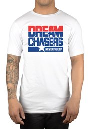 Wholesale White Dc Shirts - New Summer Style Meek Mill Dream Chasers Never Sleep T-Shirt MMG Rozay DC Rolls Royce
