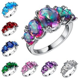 Wholesale Large Crystal Silver Rings - Valentine's Day Gift Womens Silver Plated colorful rhinestone Wedding Large Colored Ring Princess Ringen Jewelry Size 6-9 aa308