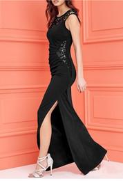 Wholesale Nex Cap - hot nex sexy style black red color evening party patchwork split ankle length maxi long dresses for mature women