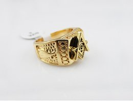 Wholesale Gold Ring Punk - 2018 Men Gold Plated Hip Hop Ring Golden Medusa Masonic Rings Punk Rock Jewelry Anillos Bar Club One Ring For Wedding