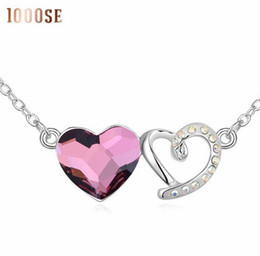 Wholesale Asian Christmas Ornaments - 2017 new 1000se Quality goods Crystal Necklace Heart dependence jewelry woman Ornaments Pendant sale
