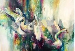 Wholesale Oil Paintings Swans Canvas - Framed Colorful Abstract swans,Pure Hand Painted Modern Wall Decor Abstract Animal Art Oil Painting On Canvas.Multi sizes al-Dafe