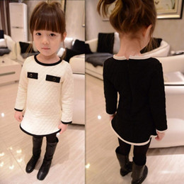 Wholesale Air Bows - Vogue Fall and Winter Clothes Korean Air Cotton Winter Baby Girls Clothes Childrens Long-sleeved Dress Son Kids
