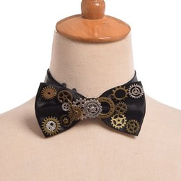 Wholesale Gear Tie - 1pc Unisex Gothic Gears Bowtie Vintage Steampunk Victorian Black Bow Tie Neckwear Cosplay Party Accessory New