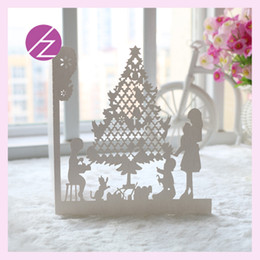 Wholesale Wedding Card Designs Free - 12Pcs  Lot Free Shipping Happy Christmas Tree Design Wedding Party Invitations Card Unique Laser Cut Christmas Greeting Card