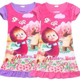 Wholesale Kids Night Robes - 2017 new Summer MASHA AND BEAR Kids Night Gown Infantil Bath Robe Baby Children masha and the bear Printing Girl's Sleepwear Dresses
