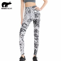 Wholesale Cartoon Printed Leggings For Women - Wholesale- 2017 Punk Style Cartoon Comics Print Slim Leggings Pencil Pants Straight Trousers Skinny High Waist Fitness For Women WAIBO BEAR