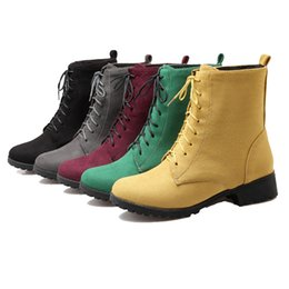 Wholesale Burgundy Wedges - SJJH women ankle boots with nubuck materail and large size comfortable low heel martin boots Q099