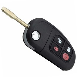 Wholesale S Flip Case - 4 Buttons Remote Flip Folding Key FOB Case Shell Uncut Blade For Jaguar X type XJ type S type