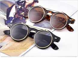 Wholesale Retro Steampunk Flip Up Glasses - 200pcs Steampunk Goth Sunglasses Round Metal Glasses Retro Circle Flip Up UV400 Goggles 4 colors
