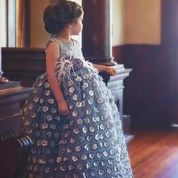Wholesale Enchanting Wedding Dresses - Lovely V-Neck Flower Girls Dress For Wedding 2017 Flowers-Applique Higher Waist Girls Birthday Dress Enchanting Little Girls Communion Dress