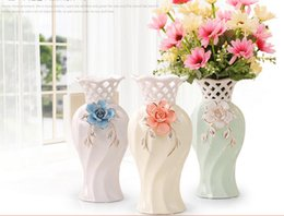 Wholesale Ceramic Bottle Vase - Modern Bottle Shape yellow white light green Color Ceramic Vase Ceramic Tabletop Vase for Home Hotel Ofiice Club Decor LH22
