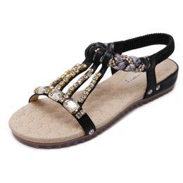 Wholesale Ladies Beaded Shoes Black - Bohemia Diamond Beaded Style Women Sandals Shoes 2017 New Beach Sandals Ladies Flat Sandals Leisure Shoes Summer 325-9