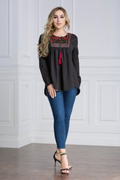 Wholesale Robe Blouse - New Arrival Plus Size Women Long Sleeved Loose Blouse Islamic Floral Embroidery Shirt Dress M-7XL Robes