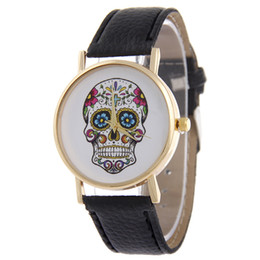 Wholesale Watch Woman Leather Skull - Luxury Brand skull Women Quartz Watch Wristwatches Brand Lovers Watches Women Men Leopard Lrint Leather Casual human skeleton Watch