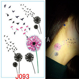 Wholesale Wholesale Temporary Tattoo Paper - Wholesale-1x Colored Dandelion Tattoo Body Art Stickers Tattoos Waterproof Temporary Tattoo Sticker Paper Waterproof Fake Tattoos