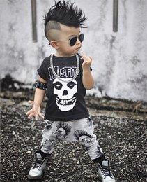 Wholesale Boys Summer Skull T Shirts - 0-3Y Newborn Baby Boy Clothes Infant Toddler Kids Black Skull T-Shirt Top + Pant 2pcs Outfit Kids Clothing Set