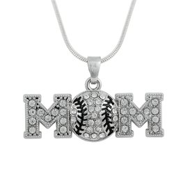 Wholesale Wholesale Metal Jewelry Initials - Simple Design Baseball MOM Metal Snake Chain Sports White Crystal Pendant Sports Necklace Maxi Jewelry Best Gift