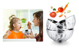 Wholesale Rice Steel Bowl - Stainless Steel Bowls Food Storage Container Salad Rice Bowls Heat Insulation Kids tablewares Dual-layers Kitchen Noodles Bowls