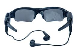 Tarjetas de video de música online-720 P gafas de sol inteligentes HD cámara gafas bluetooth vidrios de la música soporte TF tarjeta grabadora de vídeo DVR DV videocámara 30fps manos libres