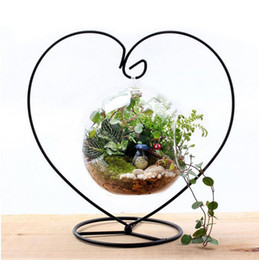 Wholesale Wholesale Iron Flower Stand - Micro Landscape Miniatures Figurines Glass Container Hanging Holder Iron Stand Home Decor Flower Plant Stand ZA4289