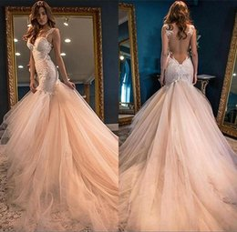 Wholesale Tulle Spaghetti Strap Wedding Dress - Gorgeous Mermaid Sleeveless Wedding Dress 2017 Lace Appliques See Through Back Arabic African Bridal Gowns