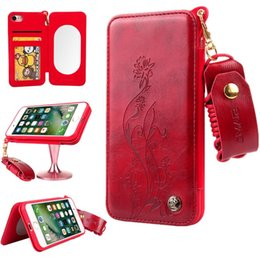 Wholesale Built Fit - For iPhone 8 7 6s Plus Case Magnetic Built-in Mirror Floral Embossment Card Holder Leather + TPU Strap Case For galaxy s8 plus