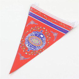 Wholesale Islamic Decorations - Wholesale- Ramadan Islamic Month banners cartoon paper flags 2.5m Muslim Arab party decoration hanging supplies favor