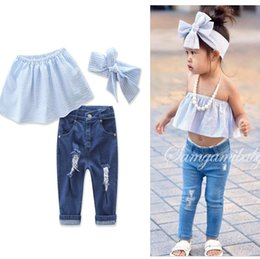 Wholesale 2017 Girls Childrens Clothing Sets Cotton Strapless Jeans Headbands Set Fashion Summer Girl Kids Boutique Clothes Outfits