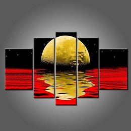 Wholesale Oil Painting Landscapes Dark - Dark Mainly Colors Abstract Black And Red Oil Painting Abstract Moon Oil Painting On Canvas For Living Room Wall Decoration