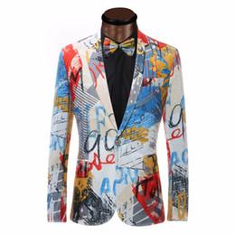 Wholesale Mens Top Coat Slim Fit - Wholesale- Luxury Color Painting Mens Blazer Fashion Suits For Men Top Quality Blazer Slim Fit Jacket Outwear Coat Costume Homme Blazer Men