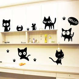 Wholesale Cat Laptop Decal - Free shipping Funny Cats kitten Vinyl Car Home Truck Window Laptop Decal Removable Wall Sticker For Kids