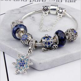 Wholesale Pandora Friendship Charm - Pandora Style 2017 Classical Dazzling Moon Star Blue Bead Friendship Bracelets with Charms Snake Chain DIY Charm Snowflake Bangle Bracelet