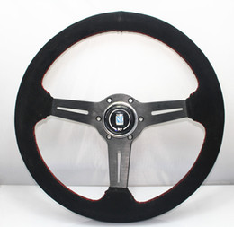 Wholesale Steering Wheel 14 Inch - HOT 2017 Universal car modification 14 inch matte leather racing ND steering wheel 350MM high quality free shipping