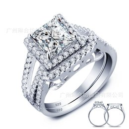 Wholesale Korean Couple Rings 925 - Wedding accessories 925 silver silver ring couple 3 carat ring Nvjie Korean zircon wholesale
