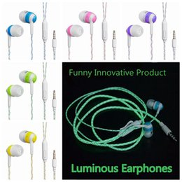 Wholesale I Phone Ear - ITSYH Luminous Stereo Earphones with microphone In-Ear earbud Night Light Glowing earphone 3.5mm Plug Xiaomi I phone mp3 mp4 TW-776