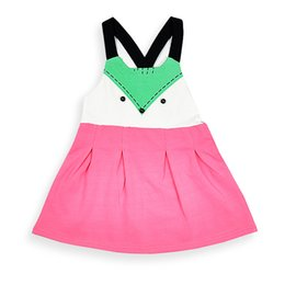 Wholesale Western Dresses For Girls - Everweekend Baby Girls Fox Summer Dress Candy Color Toddler Baby Cotton Dress Western Fashion Cute Party Dress for 1-3 years old