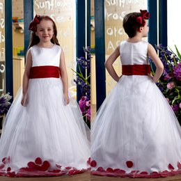 Wholesale Little White Dress Train - 2017 Sweety White Red Pageant Flower Girls For Wedding Dresses Little A-Line Tulle Sweep Train Puffy Ribbon Jewel Long Cheap Gowns For Kids