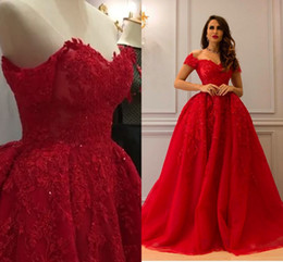 Wholesale Coral Red Ball Gown - Red Luxurious Lace 2017 Arabic Evening Dresses Sweetheart Beaded Ball Gown Tulle Prom Dresses Vintage Formal Party Gowns